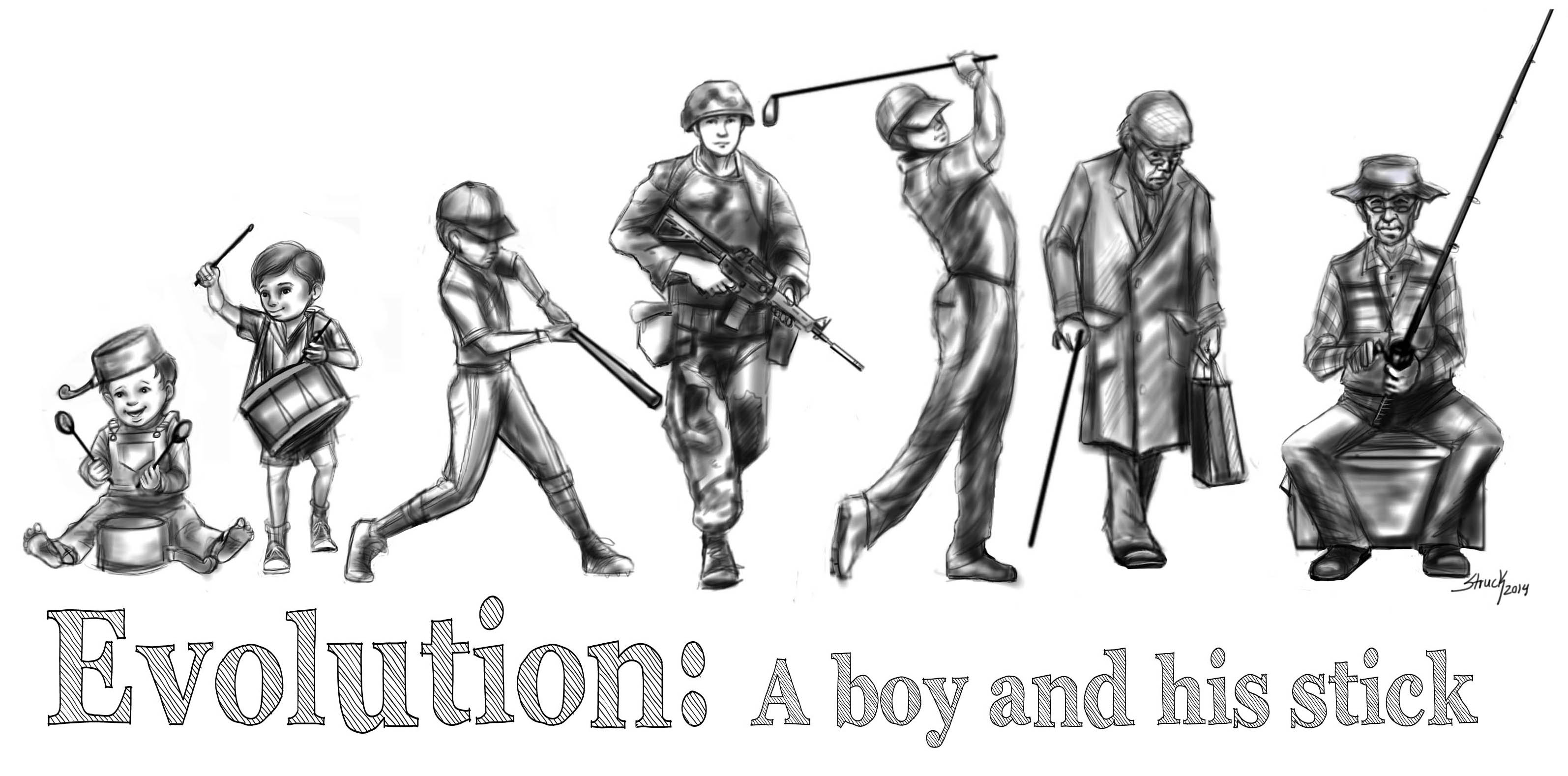 A boy and his stick -Evolution