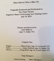 """Photo of the page for Joan Milburn's play When Harvey Wore a Blue Tie, published in the 2015 edition of """"Dramafest""""."""