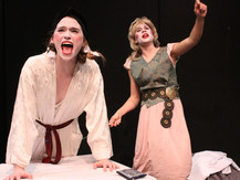 """Joan Milburn as Desdemona and Asha Culhane-Husein in """"Desdemona: A Play About a Hankerchief,"""" at The Gaiety School of Acting"""