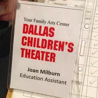 Joan Milburn's name tag.