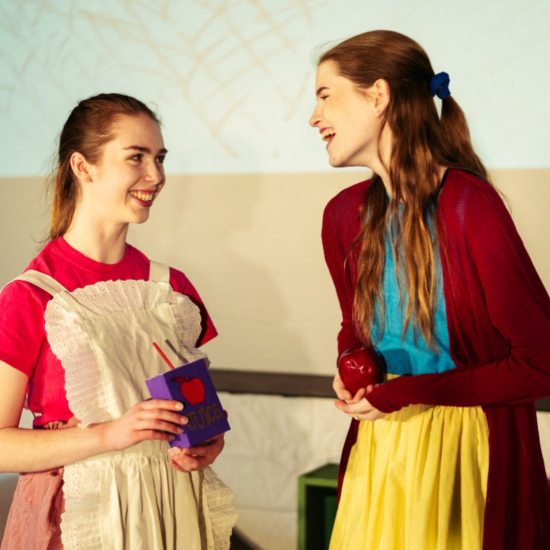 "Joan Milburn as Snow White and Olivia Carroll as Sleeping Beauty in ""Fluffytales"" at Southwestern University"