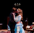 Luke Oliver as Tripp and Joan Milburn as Trisha in Act II of Five Women Wearing the Same Dress.