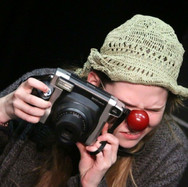 Joan Milburn performing an original clown routine at the Gaiety School of Acting.