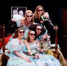 The final tableau of Five Women Wearing the Same Dress.