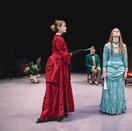 Joan Milburn as Lady Bracknell, Brock Boudoin as Algernon, and Ally Oliphant as Cecily Cardew.