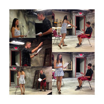 A collage of rehearsal photos from Shooting Stars and Satellites, summer 2014