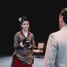 Joan Milburn as Lady Bracknell and Noah kopit as Jack Worthing.