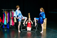 """Joan Milburn as Miss Dallas and Luke Oliver as Miss Fort Worth in """"The Texas Beauty Pageant Murder: The Fall of Don Swan"""" at the 2018 Edinburgh Fringe Festival"""