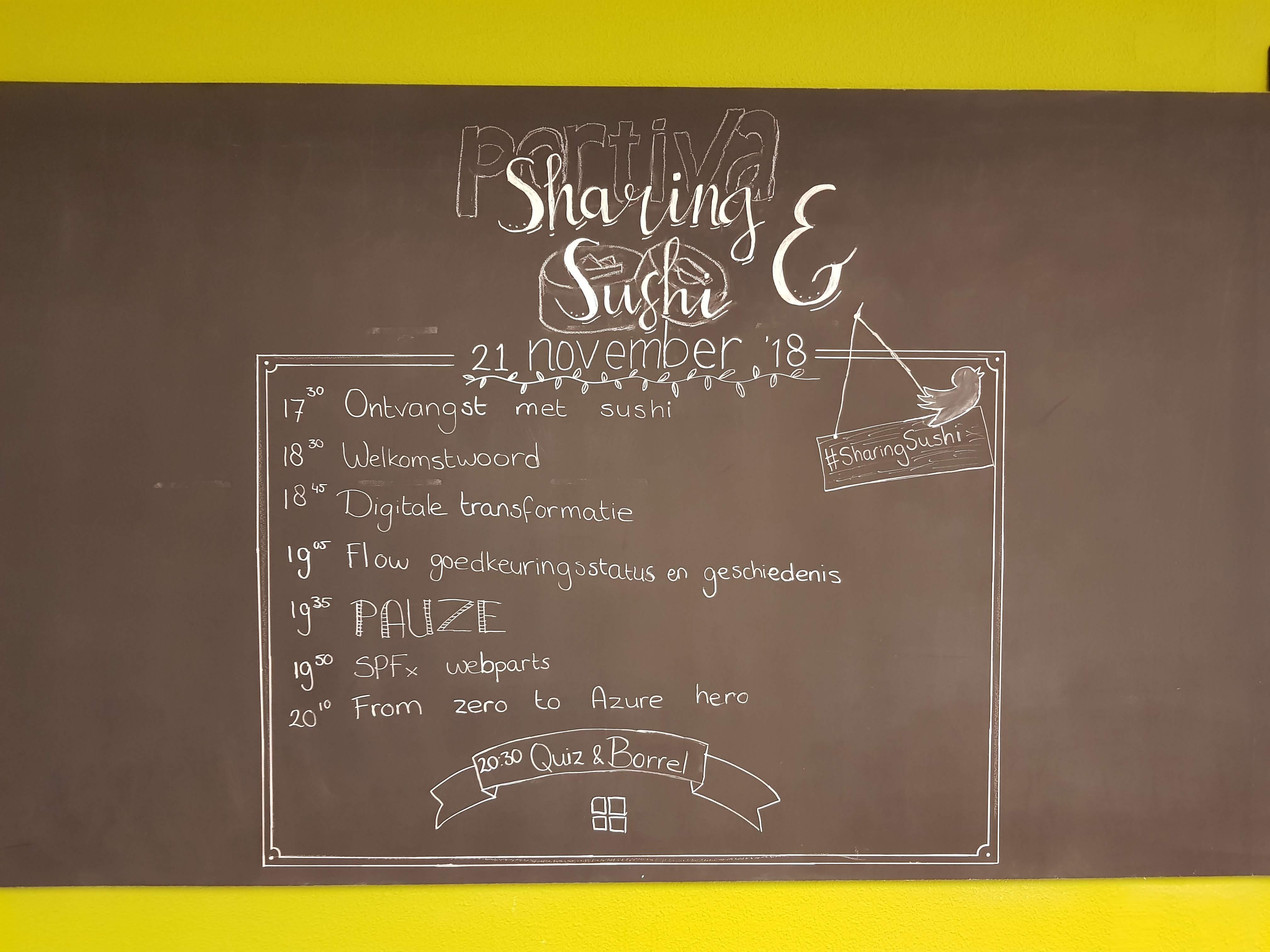 Krijtbord met Sharing en Sushi programma