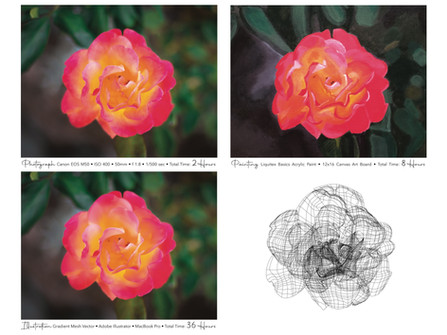 Bloom Series in 3 Mediums - Photograph, Painting, Illustration