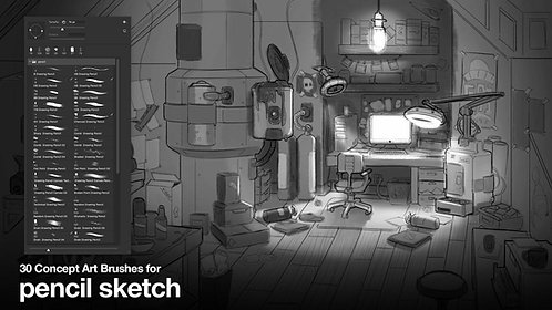 30 Brushes for Concept Art | Pencil Sketch