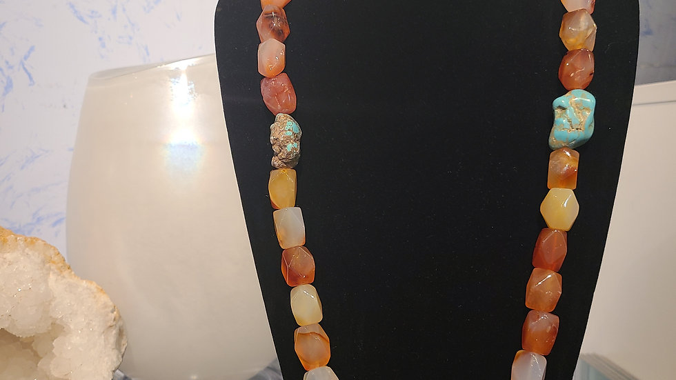 Earthy Faceted Agate & Turquoise Necklace
