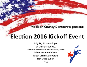 Madison County Democrats Campaign Kickoff Event! July 30, 2016