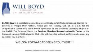 Congressional Candidates Issues Forum, Dr. Will Boyd & Mo Brooks
