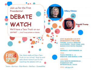 Come Join Us For The Debate Watch Party! September 26, 2016