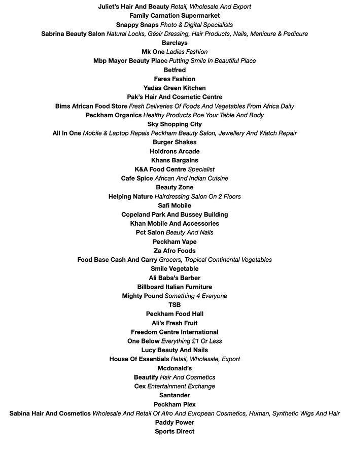 List of Businesses on Rye Lane