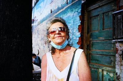 Street, portraiture, mural, blue, glasses, mask,