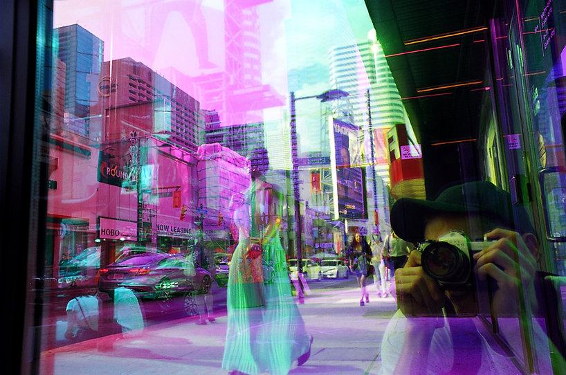 colours, reflections, woman, dress
