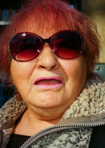 woman, glasses, lipstick, portrait, sun, red, pink