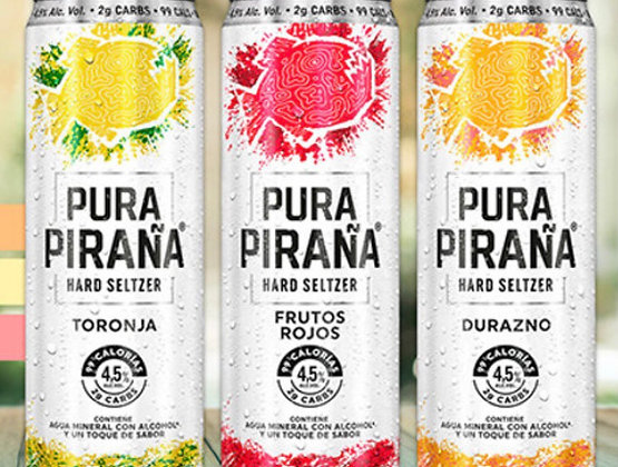 Pura Piraña Hard Seltzer -Grapefruit,Berry, Peach -12pk