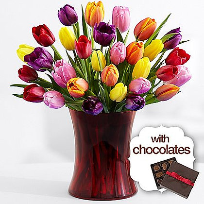 30 Multi-Colored Valentine's Tulips with Chocolate