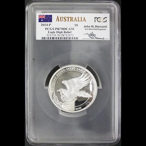 2014ーP オーストラリア イーグル 8ドル 5オンス ハイレリーフ銀貨 最高鑑定でMERCANTIサイン入り