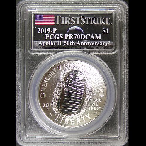 2019年ーP アポロ11号月面着陸50周年記念$1銀貨 PCGS PR70DCAM FS