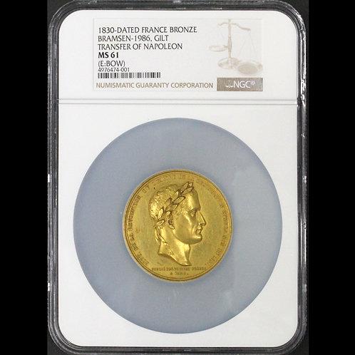 1840年のナポレオン皇帝の棺返還記念オリジナル金鍍金銅メダル NGC 準鑑定! 希少です!!