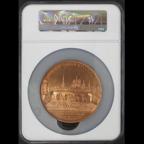 1685-dated パリ セーヌ川に架かるポンロワイヤル(ロワイヤル橋)竣功記念銅メダル 鑑定ずみ 唯一鑑定?