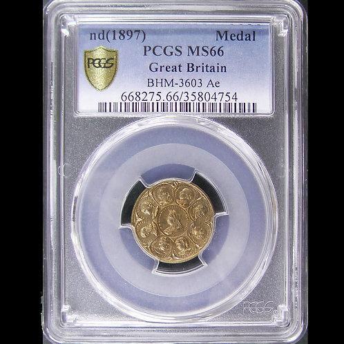 英国 Victoria ND1897ヴィクトリア/プリンス・プリンセス・ウェールズメダル 鑑定済み