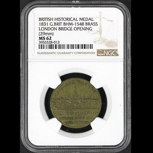 1831年ロンドン橋完成記念gold plated bass medal