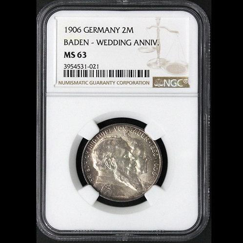 (ko)ドイツ バーデン 2マルク銀貨 1906 フリードリヒ1世(1856-1907) 金婚式 KM276 鑑定済み