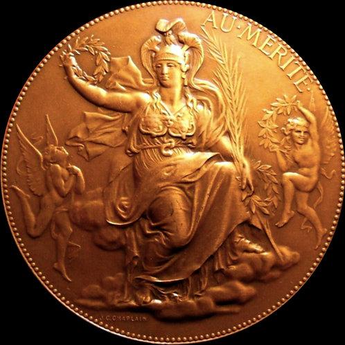 月桂冠を手に持ち座した女神マリアンヌ(アールヌーボー)大型メダル