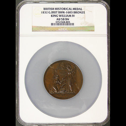 Great Britain Bronze MEDAL1832 Representation Reform WILLIAM IV NGC AU58 BN 51mm