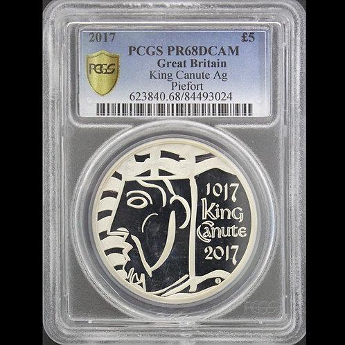 イギリス クヌート1世 戴冠1000年 2017年 Piefort 5ポンド銀貨