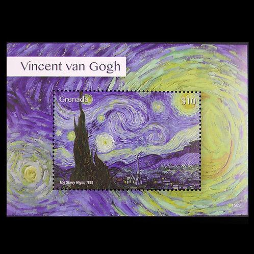 ゴッホの「星月夜」Souvenir Sheet MNH