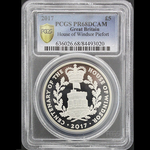 2017年イギリス 5ポンド 銀貨 ピエフ ォー ウィンザー朝100周年 PCGS PR68DCAM 準最高鑑定