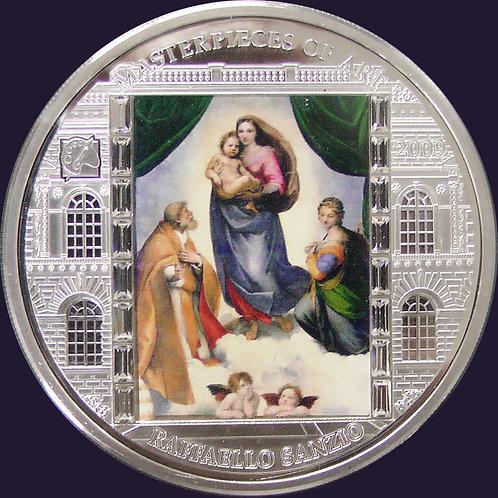 2009年 masterpieces of artシリーズ システィーナの聖母 3oz銀貨