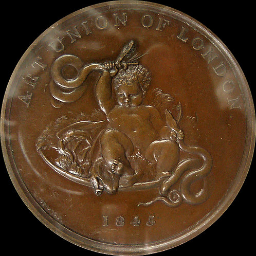 希少! 1845年 英国 ヨシュア・レイノルズ作 蛇を手で絞める幼児のヘラクレス 銅メダル 鑑定済み