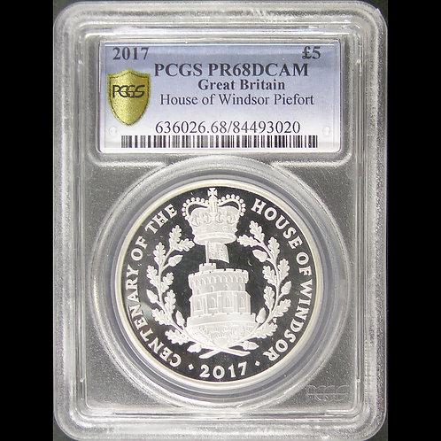 2017年イギリス 5ポンド 銀貨 ウィンザー朝100周年 PCGS PR68DCAM No2