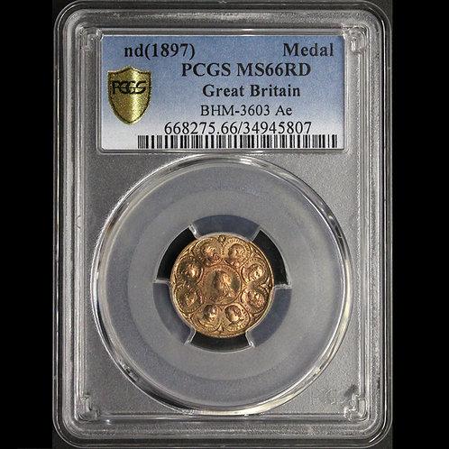英国 Victoria ND1897ヴィクトリア/プリンス・プリンセス・ウェールズメダル 鑑定済み No2