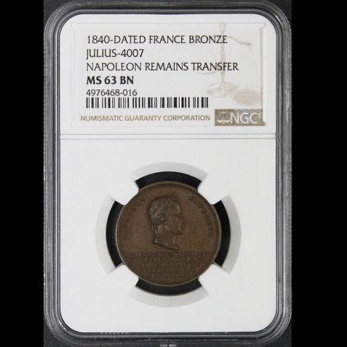 NGC最高鑑定! 26 mm 1840年のナポレオン皇帝の棺返還記念オリジナル銅メダル