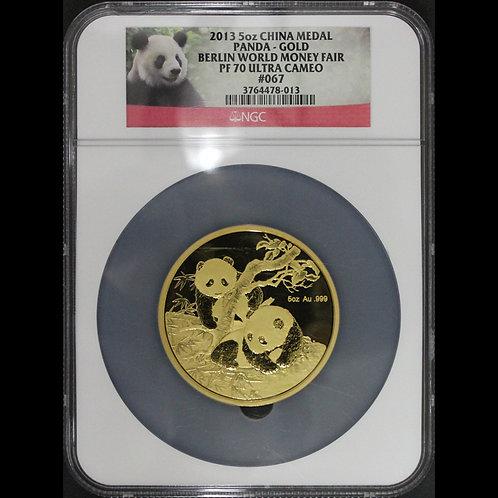 (ko)発行99枚 2013年 中国 5オンスパンダゴールドメダル ベルリンワールドマネーフェア NGC PF70UC