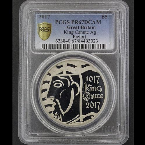 イギリス クヌート1世 戴冠1000年 2017年 Piedfort 5ポンド銀貨 PR67DCAM
