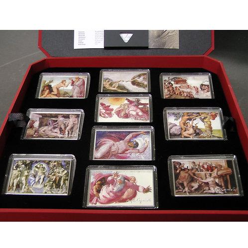 「システィーナ礼拝堂天井画と祭壇壁最後の審判」10枚コインセット