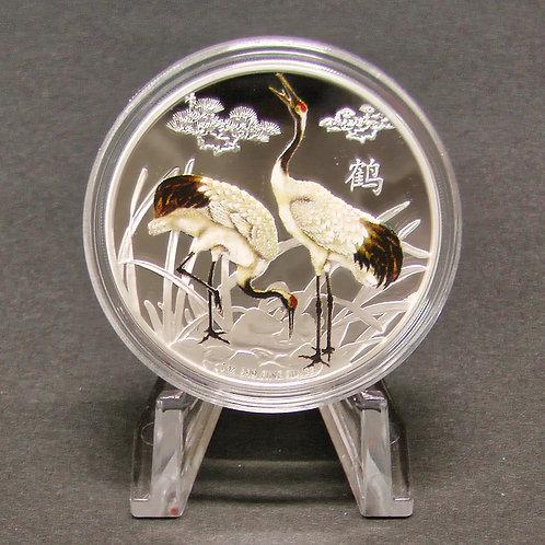 風水シリーズ「鶴」銀貨 プラ製ディスプレイスタンド付き