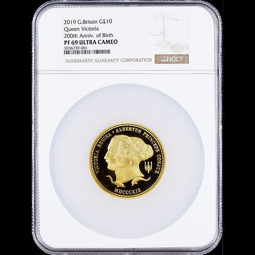 2019 イギリス ヴィクトリア女王生誕200周年記念 10ポンド金貨 5オンス プルーフ鑑定済み