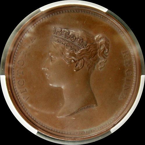 1837年 ヴィクトリア女王 ロンドンシティ訪問記念銅メダル PCGS SP65 最高鑑定!!