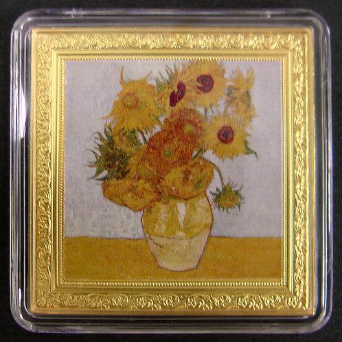 2019年 ゴッホのひまわり(第3作目)銀貨 プルーフ sunflowers Gogh silver coin