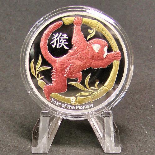 ニウエ  十二支シリーズ「赤猴」プラ製ディスプレイスタンド付き